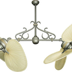 "Product Ideas - Gulf Coast Fans Twin Star II Dual Ceiling Fan in Antique Bronze with 56"" Natural Palm Blades and Optional Scroll."