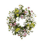 Nearly Natural - 20in. Dogwood Wreath - Few flowers can provide the soft beauty like the dogwood. There's just something 'warm and sunny' about these magnificent flowers. And this dogwood wreath perfectly captures that feeling. A full 20' in diameter, the whites, greens, pinks, and yellows mix hypnotically to provide a breath of fresh air that says 'springtime' all year round'! Perfect for your kitchen, sunroom, or as a gift for that 'sunny' person in your life.
