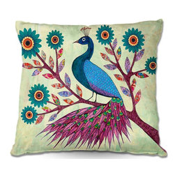DiaNoche Designs - Pillow Woven Poplin from DiaNoche Designs by Sascalias Blue Peacock - Toss this decorative pillow on any bed, sofa or chair, and add personality to your chic and stylish decor. Lay your head against your new art and relax! Made of woven Poly-Poplin.  Includes a cushy supportive pillow insert, zipped inside. Dye Sublimation printing adheres the ink to the material for long life and durability. Double Sided Print, Machine Washable, Product may vary slightly from image.