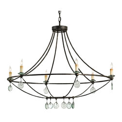 Currey and Company - Novella Chandelier - Could your entryway use an update? This flawless chandelier, with its open wrought iron fame and glass medallion accents, brings it all together. It also shines beautifully above the dining table, creating an inviting mood that will elevate your mealtime.