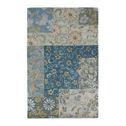 Kaleen - Kaleen Calais Collection 7504-17 2'x3' Blue - Calais is a unique blend of large multi-textural designs and today's most vivid colors.  Hand crafted with pride in India of only the finest washed 100% Premium Virgin Wool