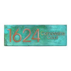 "Modern Advantage Street Sign 24"" x 8"" in Copper Verdi - The Modern Advantage Street Sign will not only enhance the strong lines of your mid-century style home with easy to read design appropriate numbers, but also lets you add the final touch with your street name. Perfect for any structure with a strong presence that requires and can support bold accessories. Although not an exact match, the Advantage Book Font is very close to the Neutra Typeface and can make your address numbers a standout in the neighborhood."