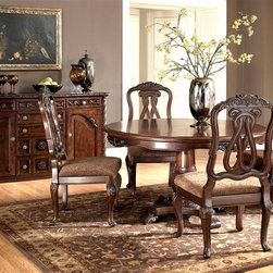 Millwood by ivgStores - 5 Pc Pedestal Table Set - North Sea Collectio - This five piece set is formal enough for your dining room while still being suitable for everyday use in an eat-in kitchen. Comes with an attractive pedestal table and four matching dining chairs with looped design backs and comfortable upholstered seats. All items feature a dark brown finish to coordinate with any decor. Collection: North Sea. Set includes Round Pedestal Table Base, 1 Round Pedestal Table Top and 4 Side Chairs. Server sold separately. Color/Finish: Dark Brown. Constructed with select hardwood veneers, hardwood solids and furniture grade resin. Table Top: 54 in. W x 54 in. L x 30 in. H. Side Chair: 22 in. W x 22 in. L x 44 in. H
