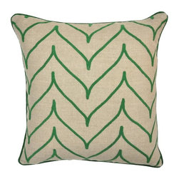 Villa Home - Nature's Bliss Array Green Pillow - Contemporary and refined with green ascending and descending lines, this neutral pillow will compliment any home d̩cor, with its subtle composition. Each all natural pillow includes a feather down insert.