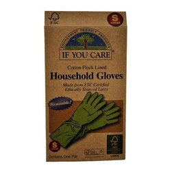 If You Care Household Gloves - Small - 1 Pair - If You Care Household Gloves are made from Forest Stewardship Council (FSC) latex, meaning that the natural rubber is sourced from an environmentally responsible plantation. The gloves are naturally biodegradable and made from 100% renewable resources. They are perfect for dishwashing, oven cleaning, and bathroom or other house cleaning tasks. The product packaging is also made of 100% recycled materials. Size Small.