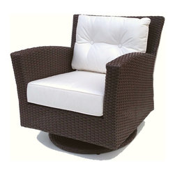 "Wicker Paradise - Outdoor Wicker Swivel Chair - The most fun outdoor wicker chair we offer and extremely comfortable. Our Sonoma wicker rocker has the perfect pitch for swivel rocking the day away and rejuvenating bliss. With a thick bottom and back cushion in your choice of Sunbrella fabric, you eyes will be happy as well as your ""it's time for some much needed rest!"""