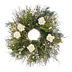 Grandin Road - Glen White Rose Wreath - Delightful door, wall, or mantel decoration made for year-round display. Handcrafted from air-dried florals, natural twigs, and paper roses, with a metal base. Best when displayed indoors or in a protected outdoor area, away from moisture and direct sunlight. Arrives ready to hang. The light and refreshing look of our bountiful Glen White Rose Wreath will never go out of season. An easy, instant way to bring the beauty of nature right into your living room. A fabulous array of dried flowers, botanicals, and quail brush twigs is artfully embellished with mulberry paper roses, then securely attached to a sturdy metal clamp ring. Each wreath is meticulously and individually crafted, so no two are exactly alike.  .  .  .  .