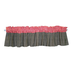Trend Lab - COCOA CORAL - WINDOW VALANCE - The COCOA CORAL - WINDOW VALANCE features a taupe with white mini dot print along the bottom and a coral pink with white mini dot print across the top. Measures 82 in x 15 in and fits a standard size window. Complete your nursery with coordinating room accessories from the Cocoa Coral Collection by Trend Lab.