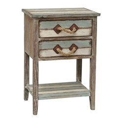 Nantucket 2 Drawer Weathered Wood Accent Table - Nantucket 2 Drawer Weathered Wood Accent Table 17.75 x 13 x 26