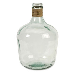 """Imax Worldwide Home - Boccioni Small Recycled Glass Jug - The small Boccioni glass jug is made from recycled glass and is a beautiful Earth-friendly accent.; Materials: 100% Recycled Glass;Country of Origin: Spain;Weight: 8.18 lbs;Dimensions: 16.50""""h x 11.00""""w x 11.00"""""""