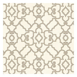Warm Gray Scroll Trellis Cotton Fabric - Chic Morrocan style trellis with intricate outlined scrolls of warm gray on ivory cotton.Recover your chair. Upholster a wall. Create a framed piece of art. Sew your own home accent. Whatever your decorating project, Loom's gorgeous, designer fabrics by the yard are up to the challenge!