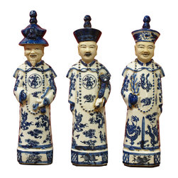 China Furniture and Arts - Porcelain Blue and White Qing Emperors - These detailed porcelain statuettes represent three generations of the most popular emperors in Chinese history. The oldest of the three Qing (1644-1912) emperors, Kang Xi (reigned 1662-1722), reestablished peace by adopting much of the Ming bureaucratic structure and espousing Confucian ideals of government and ushered in an era of reconstruction. Yong Zheng (reigned 1723-35), completed the institutional restructuring of the Qing state, but it was under Kang Xi's grandson, Qian Lon (reigned 1736-95), that the empire reached the height of its power. Set of three.