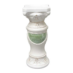 Renovators Supply - Planters White/Green Ceramic Ornate Pedestal 26 H x 10.5 Dia - Ceramic Pedestals make for a luxurious decor indoor or out. Use this decorative column as a plant stand or other architectural element in a room, outside patio or balcony. Showcase a favorite plant or bouquet of flowers.