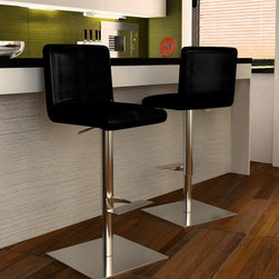 "Bellini Modern Living - Georgio Barstool - Bellini Modern Living is renowned for offering high quality and innovative furniture; passionate for providing unparalleled quality furnishings that enable individuals to express their personal style in fresh and exciting ways. Whether you're looking for dining, living or entertaining furniture your home will benefit from the exceptional collections Bellini has to offer. Features: -Barstool. -Georgio collection. -Seat and back construction: Leatherette. -Base and foot rest construction: Stainless steel. -Contemporary style. -Swivel seat action and pneumatic H adjustment. -Cushioned with CSF foam. -H adjustable from 33-44"". -Manufacturer provides one year warranty."