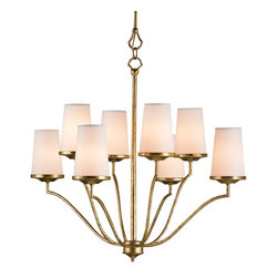 Currey & Company - Howard Chandelier - Clean lines and understated beauty make the Howard Chandelier a stunning choice. Crisp white linen shades are included with this chandelier, providing a delicate ambient glow. Unique rod-style chain is also used giving an aesthetically pleasing appeal.