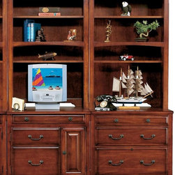 Winners Only - Country Cherry 32 in. Bookcase Set - Includes computer unit, lateral file and two hutch. CPU tower pedestal. Drop front drawer. Fixed pullout shelf. Letter/Legal. Made from wood. Cherry finish. Computer Unit: 32 in. W x 23 in. D x 30 in. H (123 lbs.). Lateral File: 32 in. W x 23 in. D x 30 in. H (114 lbs.). Hutch: 32 in. W x 14.5 in. D x 49 in. H (82 lbs.)