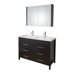 Vigo Industries - VIGO 48-inch Maxine Double Bathroom Vanity with Medicine Cabinet - Espresso - Elegance is at your fingertips with this beautiful VIGO bathroom vanity. No other brand can match VIGO's style, quality and design. This 48-inch freestanding double vanity features six soft closing drawers with sleek horizontal chrome finished handles The VIGO Maxine collection is a modern and assertive addition to any bathroom. Features Cabinet is constructed of engineered wood with wood veneers, in an Espresso Black Matte finish, consisting of an anti-scratch surface for enhanced durability. Interior features a pull out drawer plus storage shelf Contains one white ceramic countertop featuring two fully integrated sinks with two single holes for easy faucet installation Includes a medicine cabinet with mirror in matching Espresso Black Matte finish with adjustable interior glass shelves Includes solid brass, chrome-plated drain assembly All mounting hardware included Vanity is fabricated for freestanding installation This cabinet is shipped assembled 5 Year Limited Warranty Faucet NOT included How to handle your counterView Spec Sheet