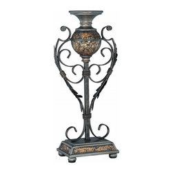 Lite Source - Lite Source Narcisco Traditional Large Candle Holder X-33014C - From the Narcisco Collection, this Lite Source candle holder features a generous size and generous styling. The detailing of this large traditional candle holder is complimented by a Dark Bronze finish, drawing attention to the acanthus leaves, the scrollwork and the Southern European charm of the frame. Mosaic Glass accenting completes the look.