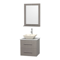 """24"""" Single Bathroom Vanity, White Man-Made Stone Countertop, Sink, Mirror - Simplicity and elegance combine in the perfect lines of the Centra vanity by the Wyndham Collection. If cutting-edge contemporary design is your style then the Centra vanity is for you - modern, chic and built to last a lifetime. Available with green glass, pure white man-made stone, ivory marble or white carrera marble counters, with stunning vessel or undermount sink(s) and matching mirror(s). Featuring soft close door hinges, drawer glides, and meticulously finished with brushed chrome hardware. The attention to detail on this beautiful vanity is second to none."""