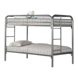 Monarch Specialties - Monarch Specialties I 2230S Silver Metal Twin/Twin Bunk Bed - The fun space saving design of this silver metal twin bunk bed will make a wonderful addition to your child's bedroom. Convenient built in ladders on each side lead up to the top bunk which is surrounded with full length guard rails for extra piece of min  Bunk Bed (1)