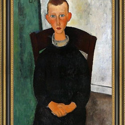 """Art MegaMart - Amedeo Modigliani Son Concierge - 16"""" x 24"""" Amedeo Modigliani The Son of the Concierge framed premium canvas print reproduced to meet museum quality standards. Our Museum quality canvas prints are produced using high-precision print technology for a more accurate reproduction printed on high quality canvas with fade-resistant, archival inks. Our progressive business model allows us to offer works of art to you at the best wholesale pricing, significantly less than art gallery prices, affordable to all. This artwork is hand stretched onto wooden stretcher bars, then mounted into our 3 3/4"""" wide gold finish frame with black panel by one of our expert framers. Our framed canvas print comes with hardware, ready to hang on your wall.  We present a comprehensive collection of exceptional canvas art reproductions by Amedeo Modigliani."""