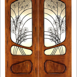 Art Nouveau Entry Doors Model # AN-2006 - Art Nouveau is an art, style, and architecture recognized around the globe.  This door and collection will set you apart from the rest while giving your home a very unique look.  These doors have fine carvings, iron work and most have a operable glass panel to facilitated the cleaning of the iron panel.  Look at the entire collection to find the right fit!
