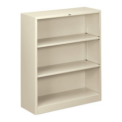 Hon - Brigade Metal 3-Shelf Bookcase - Turn the page on office clutter with this shelf. Made of strong steel in a putty finish, it features two interior shelves that adjust so you have room for everything from giant binders to CDs/DVDs. Show off the latest business bestsellers — whether you've actually read them or not.