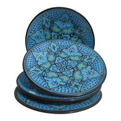 Le Souk Ceramique - Sabrine Dinner Plate - Set of 4 - Set of 4. 11 in. wide. Hand Painted . Hand Made . Dishwasher safe . Microwave safe . Made in Tunisia. Lead free glazes . Meets CA Prop 65 . Meets all Federal StandardsIt seems we've captured the color straight from the sea! Soothing in cool, watery turquoise, our Sabrine pattern represents everything we love about art in pottery. A contemporary take on tradition, Sabrine displays intricate details of the fusion of the Spanish-Moorish art form. With artistic elements of the intersecting arches embellished with spots of color, our Sabrine pattern inspires thoughts of ancient at and architecture in a lavish dinnerware collection.