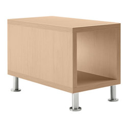 Turnstone - Jenny End Table - Stay within the box with the Jenny End Table. A long rectangular top surface is complemented by a second surface below, with front and back open. Solid MDF with low-pressure laminate and steel legs.