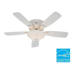Hunter - Indoor Ceiling Fans: Hunter Low Profile 48 in. White Ceiling Fan 52062 - Shop for Lighting & Fans at The Home Depot. The Hunter Low Profile 48 in. White Ceiling Fan with traditional styling will fit perfectly in any room of your home. The high-performance motor offers whisper-quiet operation and 3-speed with a reverse airflow function. For added convenience, the fan may be installed with or without the included light kit to provide room lighting as needed. A bowl-style fixture houses one 26-watt CFL bulbs (included).