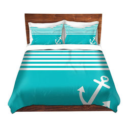 DiaNoche Designs - Duvet Cover Twill by Organic Saturation - Teal Love Anchor Nautical - Lightweight and super soft brushed twill Duvet Cover sizes Twin, Queen, King.  This duvet is designed to wash upon arrival for maximum softness.   Each duvet starts by looming the fabric and cutting to the size ordered.  The Image is printed and your Duvet Cover is meticulously sewn together with ties in each corner and a concealed zip closure.  All in the USA!!  Poly top with a Cotton Poly underside.  Dye Sublimation printing permanently adheres the ink to the material for long life and durability. Printed top, cream colored bottom, Machine Washable, Product may vary slightly from image.