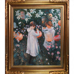 """overstockArt.com - Sargent - Carnation, Lily, Lily, Rose - 20"""" X 24"""" Oil Painting On Canvas Carnation, Lily, Lily, Rose , is a portrait of two children, daughters of Sargent's friend Frederick Barnard an illustrator. This reproduction was made with exceptional use of color, detail and brush strokes and will bring grace to every room or workspace. John Singer Sargent was an American painter and best known for his portraits. His works include 900 oil paintings and more than 2,000 watercolors. Your friends and family are sure to admire this beautiful canvas."""