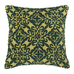Rizzy Home - Rizzy Home Hand Embroidery Green Scrolls Decorative Throw Pillow - PILT06804YEGR - Shop for Pillows from Hayneedle.com! In a design fit for a queen hand-embroidered scrolls make the Rizzy Home Hand Embroidery Green Scrolls Decorative Throw Pillow perfect for your distinguished sofa or bed. The removable cover features a plush polyester insert hidden zipper and is made of quality 100% cotton slub fabric.About Rizzy HomeRizwan Ansari and his brother Shamsu come from a family of rug artisans in India. Their design color and production skills have been passed from generation to generation. Known for meticulously crafted handmade wool rugs and quality textiles the Ansari family has built a flourishing home-fashion business from state-of-the-art facilities in India. In 2007 they established a rug-and-textiles distribution center in Calhoun Georgia. With more than 100 000 square feet of warehouse space the U.S. facility allows the company to further build on its reputation for excellence artistry and innovation. Their products include a wide selection of handmade and machine-made rugs as well as designer bed linens duvet sets quilts decorative pillows table linens and more. The family business prides itself on outstanding customer service a variety of price points and an array of designs and weaving techniques.