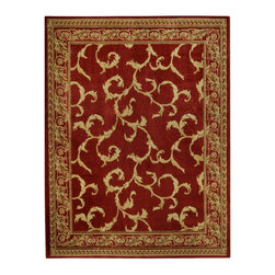 None - Pasha Collection Floral Traditional Red Ivory Area Rug (5'3 x 6'11) - This gorgeous,exotic rug is easy to vacuum,stain resistant and is extremely durable. The Pasha Collection features an anti-static low pile and they naturally resist stains,fading,soil and bacteria.