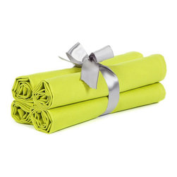 """BH Decor - Solid Lime Green Table Linen Napkins ( Set of 4 ) - - 20"""" square"""