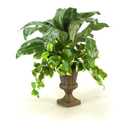 "D&W Silks - Artificial Pothos Ivy and Birdnest Palm in Urn - It's amazing how much adding a plant can change the look of a room or decor, but it can be difficult if your space is not conducive to growing plants, or if you weren't exactly born with a ""green thumb."" Invite the beauty of nature into your home without all the upkeep with this maintenance-free, allergy-free arrangement of artificial pothos ivy and birdnest palm in an urn. This is not a living plant."