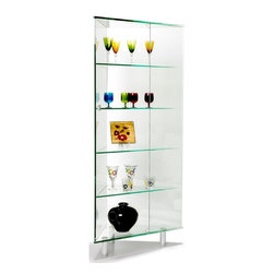 Chintaly - Glass Corner Curio Cabinet with Silver Tone B - You will love the attractive space saving corner design of this curio cabinet, which features elegant glass shelves, silver legs, and a unique style that is sure to accent your home. Goes well with your modern décor or as an accent in traditionally styled homes. Silver legs and plate. Four interior glass shelves (not adjustable). Minimal assembly required. 25.5 in. W front door. 35 in. W x 17 in. D x 76 in. H