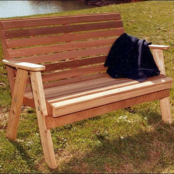 Fifthroom - Red Cedar American Classic Garden Bench - For our Red Cedar American Classic Garden Bench, we took the design of the garden benches that were ubiquitous in the 30's and 40's, and gave it a 21st century twist.  We added lower lumbar support to the back, and a deep, curved seat, to make this bench comforting in more ways than one.  Hand-made from solid red cedar, it's a sheer nostalgic delight.