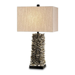Currey and Company - Villamare Table Lamp - Natural oyster shells are used to create this organic lamp. The lamp is accented with and oatmeal linen shade and is embellished with black wood accents.