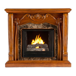 SEI - Cardona Gel Fuel Fireplace - Walnut - A beautiful walnut finish, Victorian-esque design, and faux marble combine to create this timeless design; add the beauty and romance of a glowing fire and you have a versatile gel fuel fireplace that will complement any room in your home. To top it off, this fireplace requires no electrician or contractor for installation, allowing for instant remodeling without the usual mess or expenses. This walnut fireplace features traditional, pilaster wood corbels, an intricate center medallion, and luxurious faux marble. The hand-carved details and exquisite elements of the design make it a beautiful focal point to build a room upon. FireGlo Gel Fuel snaps and crackles like real wood for the perfect fireplace experience; replace the gel fuel with decorative pillar candles for year round enjoyment. Convenience and ease of assembly are just two of the reasons why this fireplace is perfect for your home. The ornate, elegant style of this fireplace works well in traditional and transitional homes. This handsome fireplace is great for the living room and bedroom, and even adds a warm, romantic touch to the dining room or home office. Let this portable fireplace give your home a more welcoming and enjoyable atmosphere.