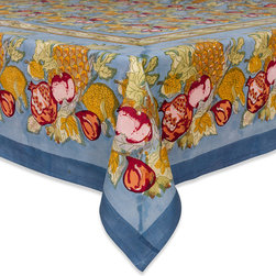 None - Tutti Frutti Rectangular Cotton Tablecloth - Bring a pop of color to your kitchen or dining room with this bold and unique table linen. Composed of a tutti frutti pattern in blue and red,this tablecloth is the perfect addition to your home decor.