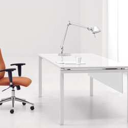 """The Ergo Office - Pure Office Work Writing Desk - Versatile and functional, the Jesper Office 500 Collection complements nearly any contemporary office setting, bringing visual unity and calm. A simple set of elements can be combined in nearly limitless ways creating an advanced system that allows you to work individually or collectively. Versatile workstations can be designed in a variety of spaces and they offer the kind of technological integration needed in the modern workplace today. Featuring the latest in furniture technology, this clever system offers plug-n-play desks with integrated phone, power, and Ethernet connectivity. Sliding writing pads are perfect for keyboard or laptop storage and smart wire management keep all your cords manageable and organized in one convenient spot. Available in white lacquer or applewood laminate, the sleek aluminum framing makes the perfect backdrop for any modern working environment. Features: -Desk. -Pure Office collection. -Brushed aluminum base. -Power, internet and phone building. -Wire management. -Modesty panel. -Commercial grade. -5 Years warranty. -Assembly required. -Dimensions: 30"""" H x 60"""" W x 30"""" D."""