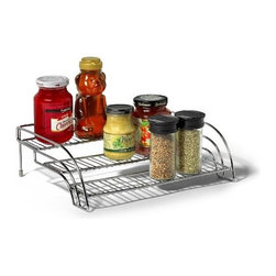 Spectrum Diversified Designs - Tiered Shelf Organizer - Neatly organize spices and other small jars in your cupboard with the Tiered Shelf Organizer & Spice Rack. Three tiers allow for multiple levels of organization and ensure that all of your items remain within sight and easy to reach. This item is also great for arranging medicine bottles in the bathroom. Made of sturdy steel.