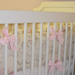 Doodlefish Peony Crib Bumper - The Doodlefish Peony Collection is vintage chic floral in natural, pinks and grey.