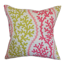 The Pillow Collection - Veneti Pink 18 x 18 Coastal Throw Pillow - - Pillows have hidden zippers for easy removal and cleaning  - Reversible pillow with same fabric on both sides  - Comes standard with a 5/95 feather blend pillow insert  - All four sides have a clean knife-edge finish  - Pillow insert is 19 x 19 to ensure a tight and generous fit  - Cover and insert made in the USA  - Spot clean and Dry cleaning recommended  - Fill Material: 5/95 down feather blend The Pillow Collection - P18-HSF-CORALSPENDLOR-PINKSAND