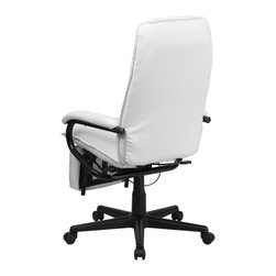 Flash Furniture - Flash Furniture Office Chairs Leather Executive Swivels X-GG-HW-27107-TB - Go from sitting to a Reclined and Relaxed position in seconds with this Reclining High Back Executive Office Chair! Now you can have the best of both worlds with this dual designed office chair that offers you the comfort of a recliner in an office chair. This office chair offers you the standard pneumatic seat height adjustment with the added bonus of a reclining back and easy touch adjustable footrest. [BT-70172-WH-GG]