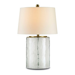 Currey & Company - Currey & Company Oscar Table Lamp CC-6197 - With it's Contemporary shape the Oscar Table Lamp blends contemporary style with a coastal inspired feel. The glass is recycled and the accents are a beautiful brass color. Includes an Off white shantung shade.