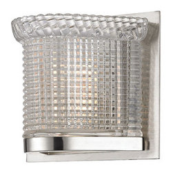 Hudson Valley Lighting - Hudson Valley Lighting 5191 Denning 1 Light Bathroom Wall Sconce - Capped with a smoothly corded cornice, Denning's shimmering wedge of prismatic glass makes a brilliant impression. We set Denning against a sleek minimalist backplate to keep your eyes drawn on the crafted glassware.Dimensions: