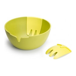 Hands On Salad Bowl - I love the striking design of this salad bowl. The unique feature is a pair of hand-like salad servers integrated on either side of the bowl. Easy to transport and comes in several elegant colors.