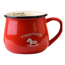 Factory Direct - The Retro Ceramic Breakfast Cup, Red - Brighten up your mornings with these cute and colorful ceramic cups with words of encouragement. These are guaranteed to make your tea/coffee style with a smile.